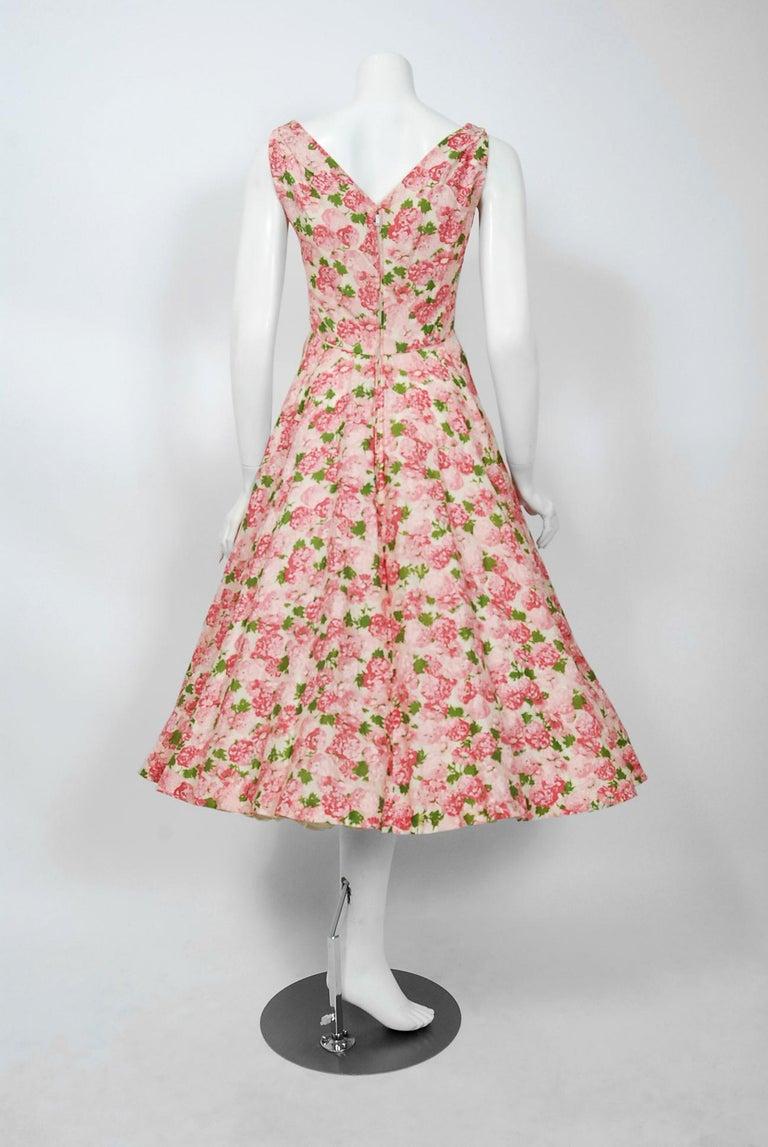 Vintage 1950's Ceil Chapman Pink Carnations Floral Print Cotton Full-Skirt Dress For Sale 2