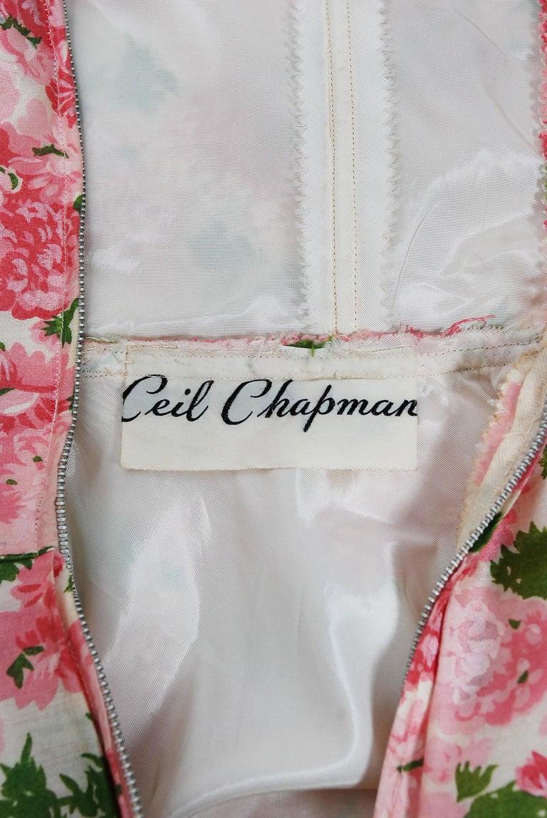 Vintage 1950's Ceil Chapman Pink Carnations Floral Print Cotton Full-Skirt Dress For Sale 3