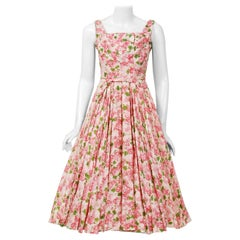 1950's Ceil Chapman Pink Carnations Floral Print Cotton Pleated Full-Skirt Dress