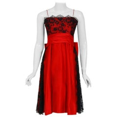 1950's Ceil Chapman Red Satin & Black Scalloped Lace Back-Bow Full Party Dress