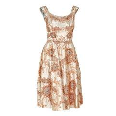 1950's Ceil Chapman Rhinestone Metallic Floral Applique Ivory Satin Party Dress