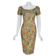 1950's Ceil Chapman Watercolor Floral Garden Print Silk Ruched Cocktail Dress