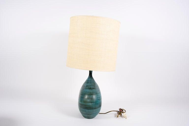 European 1950's Ceramic Lamp by Jean De Lespinas For Sale