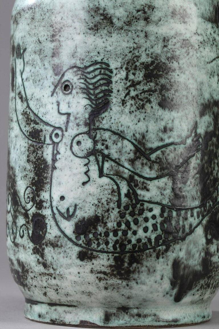 Mid-Century Modern 1950s Ceramic Vase by Jacques Blin For Sale