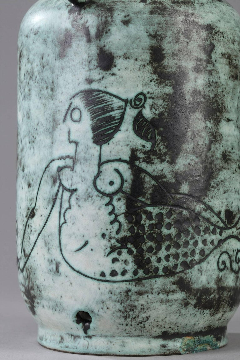 French 1950s Ceramic Vase by Jacques Blin For Sale