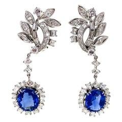 1950s Ceylon No Heat Blue Sapphire Diamond Drop Earrings