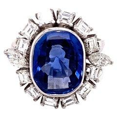 1950s Ceylon No Heat Oval Blue Sapphire Diamond Cocktail Ring