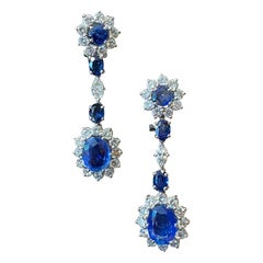 1950s Ceylon Sapphire Diamond Cluster Drop Earrings Platinum White Gold