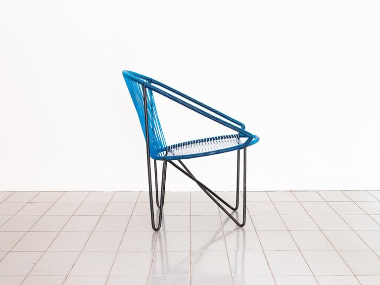 Mid-Century Modern 1950s Chair by José Zanine Caldas, Brazil, Wrought Iron and String For Sale
