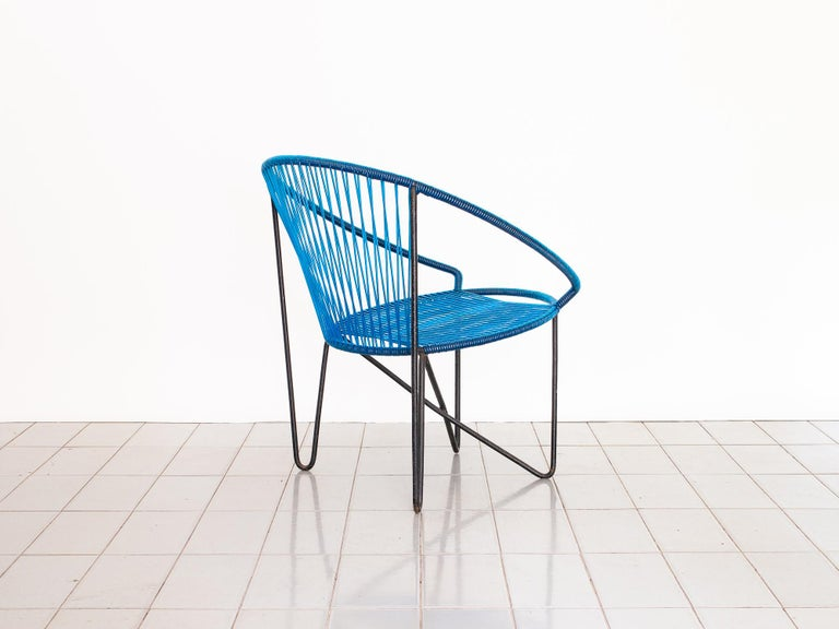 Brazilian 1950s Chair by José Zanine Caldas, Brazil, Wrought Iron and String For Sale