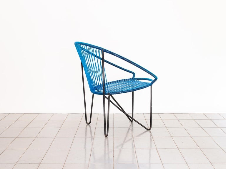 1950s Chair by José Zanine Caldas, Brazil, Wrought Iron and String In Good Condition For Sale In Sao Paulo, SP