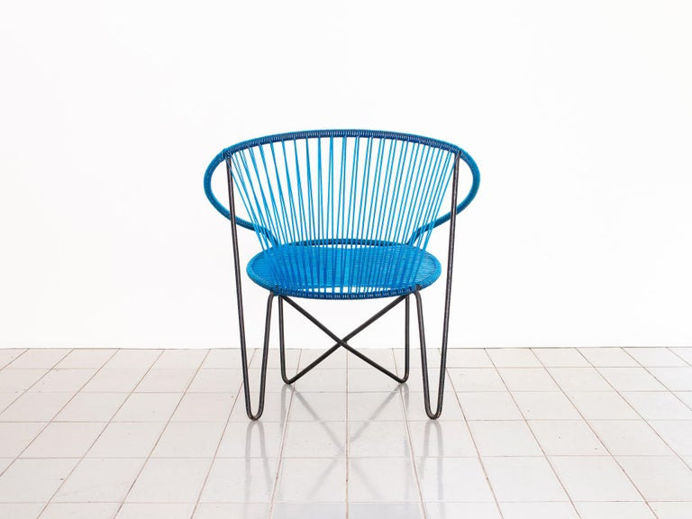 20th Century 1950s Chair by José Zanine Caldas, Brazil, Wrought Iron and String For Sale