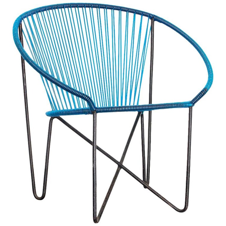 1950s Chair by José Zanine Caldas, Brazil, Wrought Iron and String For Sale