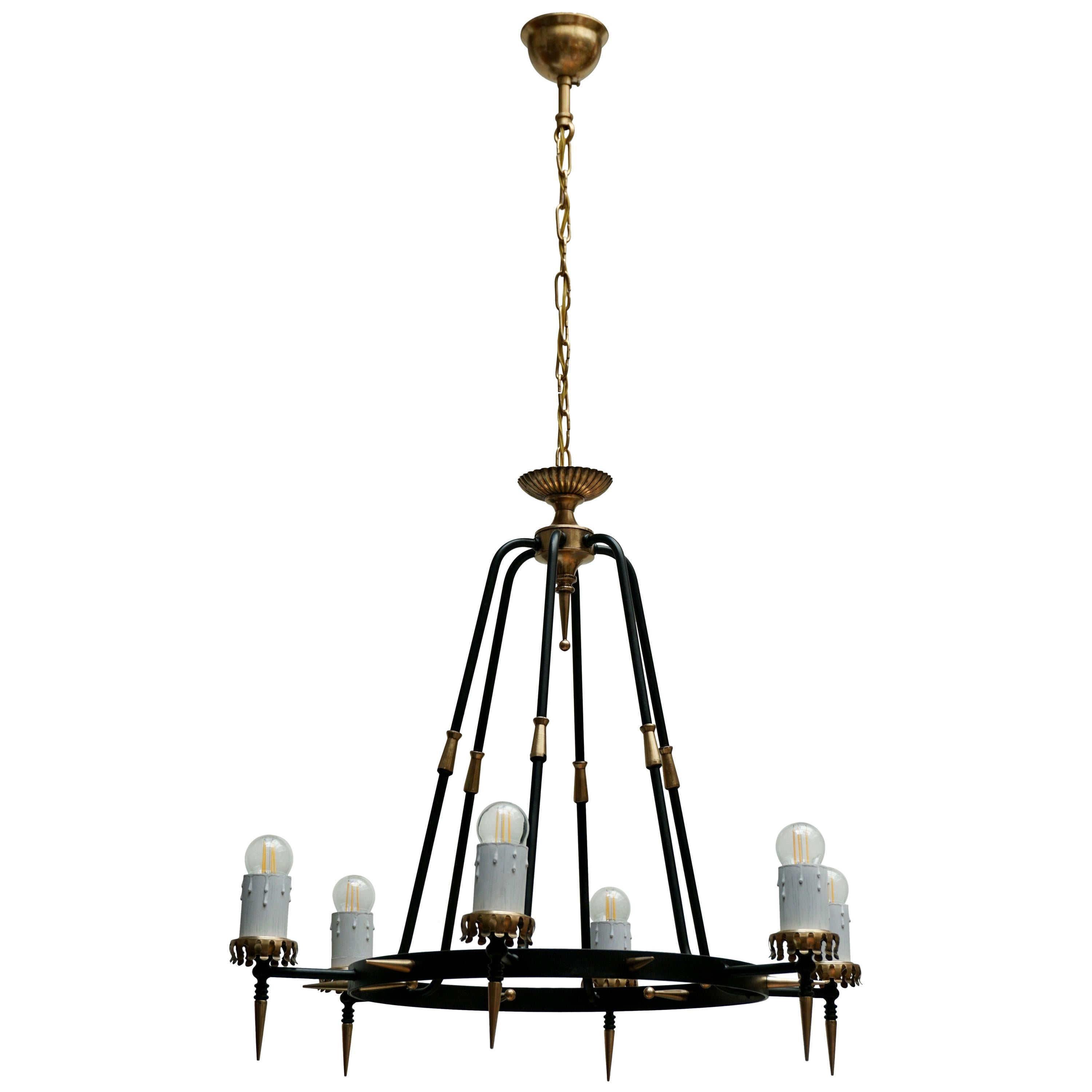 1950s Chandelier in Brass and Black Metal