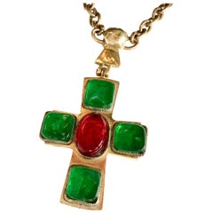 1950s  Chanel by Goosens Byzantine Cross Pendant Necklace
