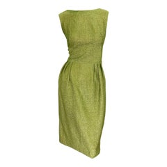 1950s Chartreuse Green Metallic Silk Lurex Plunging Back Vintage 50s Dress