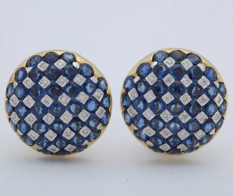 Women's 1950s Checkerboard Design Faceted Sapphires with Diamonds Gold Clip-On Earrings For Sale