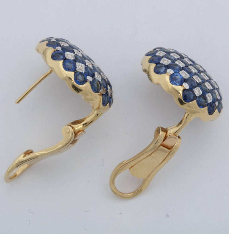 1950s Checkerboard Design Faceted Sapphires with Diamonds Gold Clip-On Earrings For Sale 1