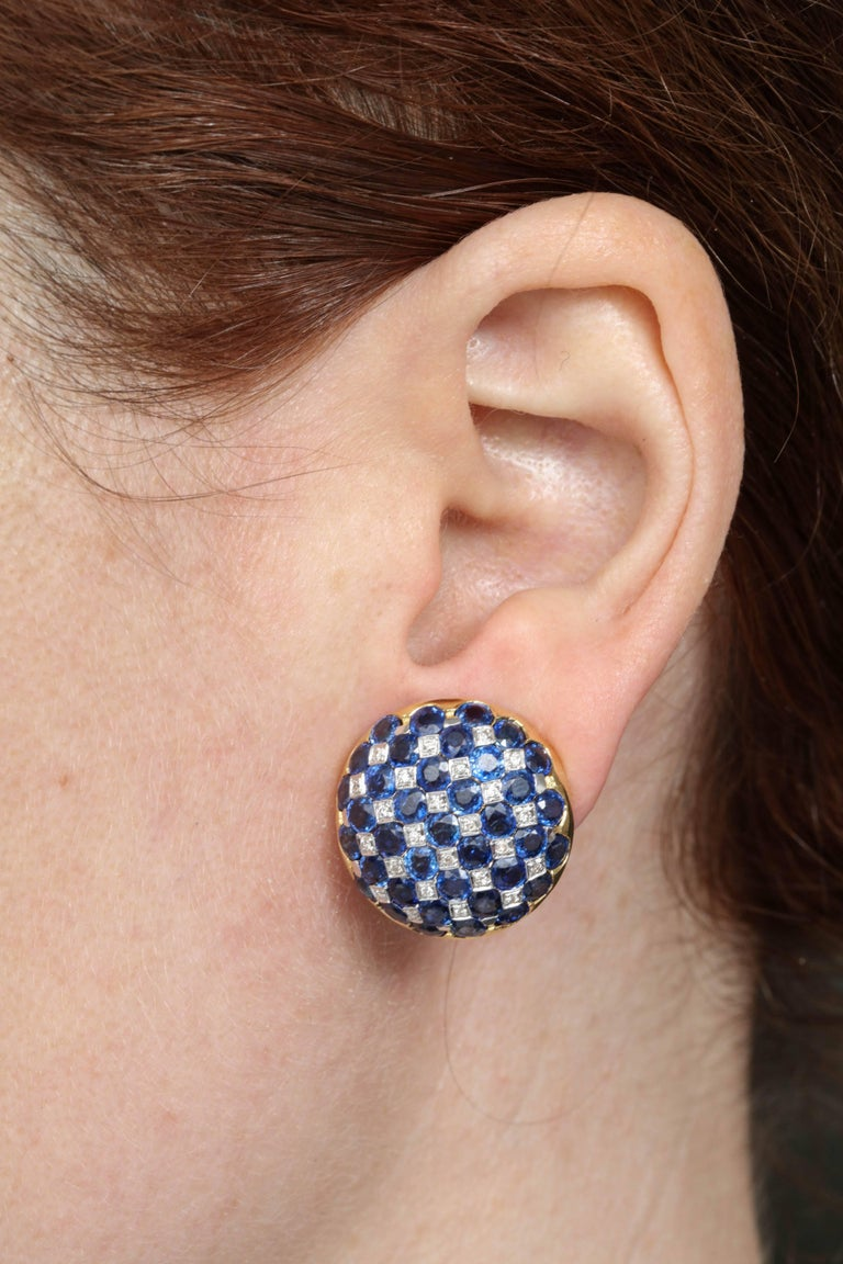 1950s Checkerboard Design Faceted Sapphires with Diamonds Gold Clip-On Earrings For Sale 2