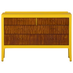 1950s Chest of drawers in Sapelli Hand Painted in Choc Yellow