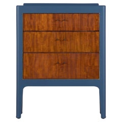1950s Chest of Drawers in Sapelli Hand Painted in Navy Blue
