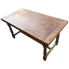 1950s Chestnut Table, Original Italian, Extendable, with Turned Leg