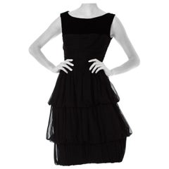 1950S Chiffon Mr. Blackwell Black Layered And Velvet Sleeveless Dress