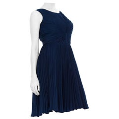 1950S Chiffon Pleated Sleeveless Midi Evening  Dress