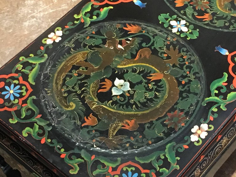 1950s Chinese Black Lacquer Painted Dragon Coffee Table or Bench For Sale 5