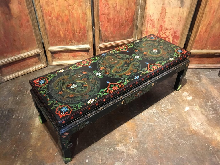 1950s Chinese Black Lacquer Painted Dragon Coffee Table or Bench For Sale 6