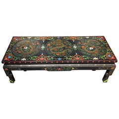 1950s Chinese Black Lacquer Painted Dragon Coffee Table or Bench