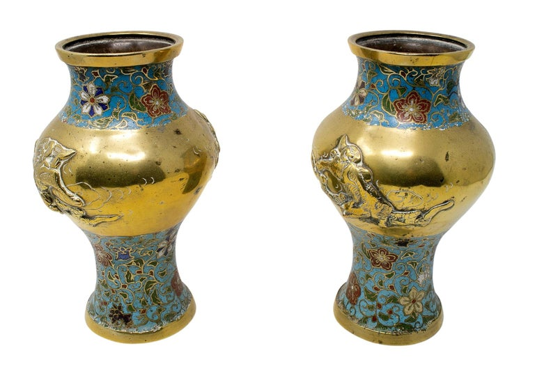 1950s Chinese pair of bronze cloisonné vases.