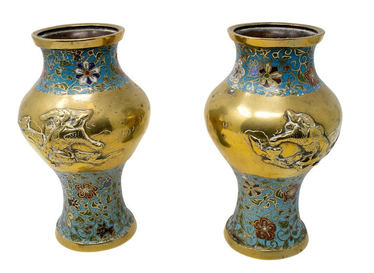 20th Century 1950s Chinese Pair of Bronze Cloisonné Vases For Sale