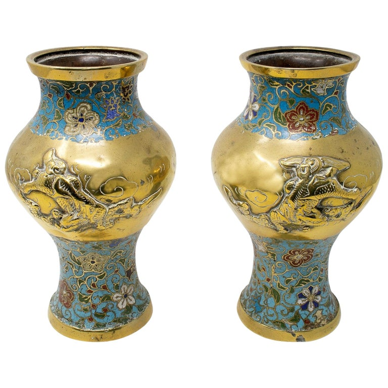 1950s Chinese Pair of Bronze Cloisonné Vases For Sale