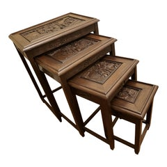 1950s Chinese Vintage Hand Carved Nesting Tables, Set of 4
