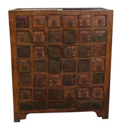 1950s Chinese Wood Apothecary Cabinet with 36 Drawers