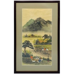 1950s Chinoiserie Mountainside Framed Charcoal and Lithograph