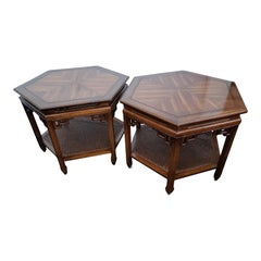 1950s Chinoiserie Two Tier Caned Shelf End Tables, a Pair