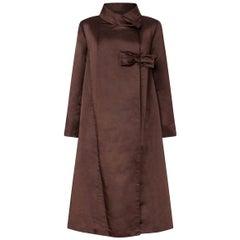 1950s Chocolate Brown Silk Swing Coat