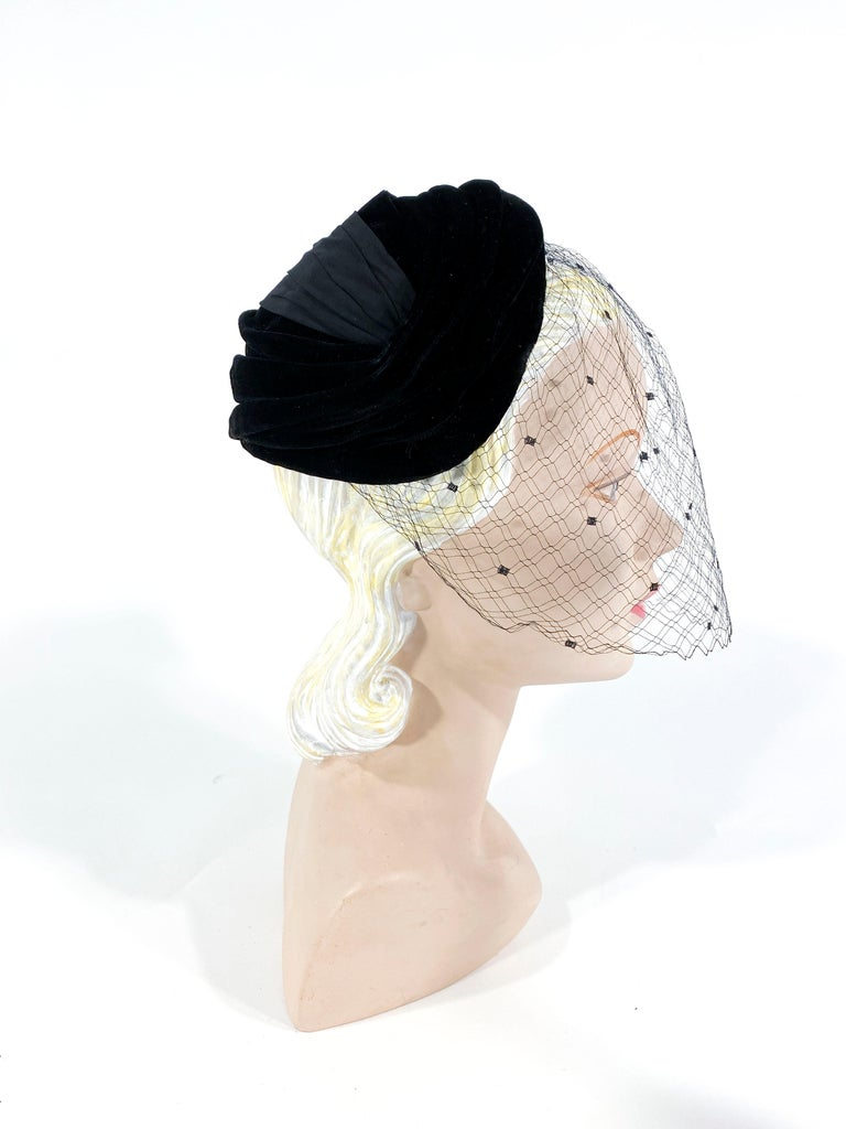1950s Christian Dior Black Velvet Hat In Good Condition For Sale In San Francisco, CA
