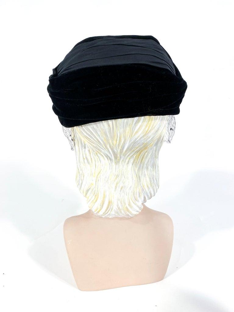 Women's 1950s Christian Dior Black Velvet Hat For Sale