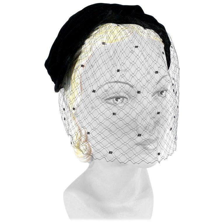 1950s Christian Dior Black Velvet Hat For Sale