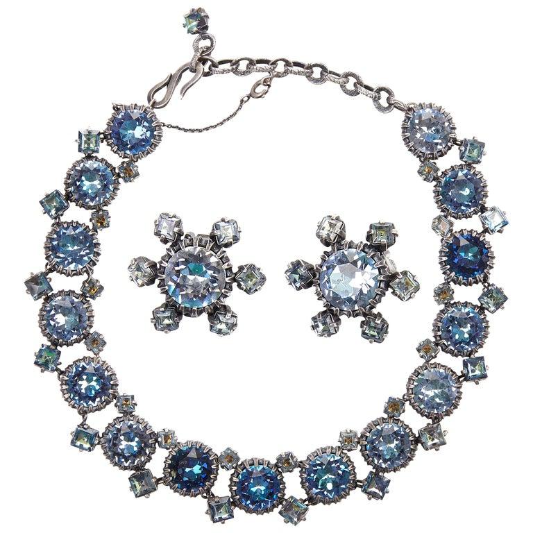 Women's 1950s Christian Dior Blue Crystal Earrings For Sale