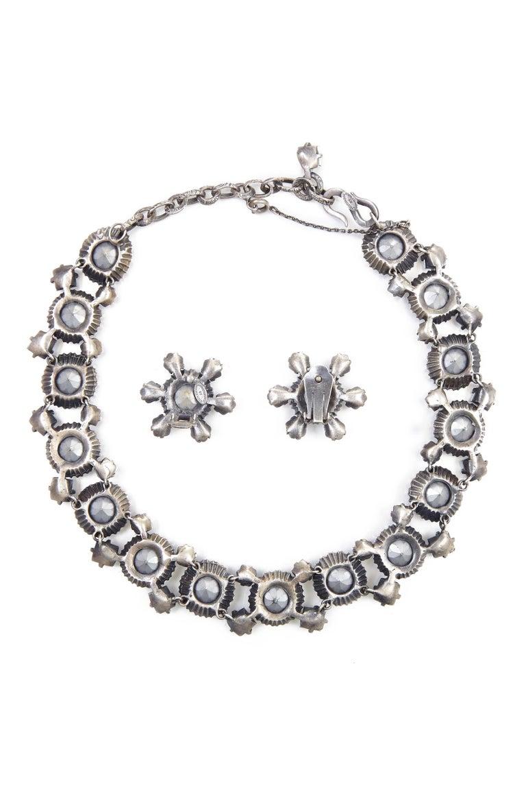1950s Christian Dior Blue Crystal Earrings For Sale 1