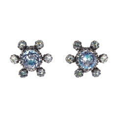 1950s Christian Dior Blue Crystal Earrings