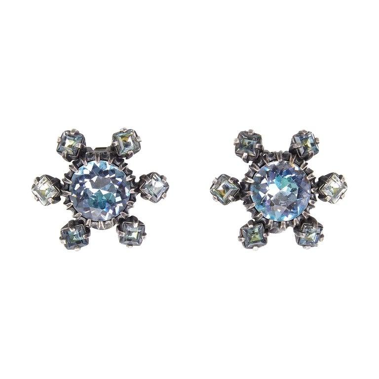 1950s Christian Dior Blue Crystal Earrings For Sale