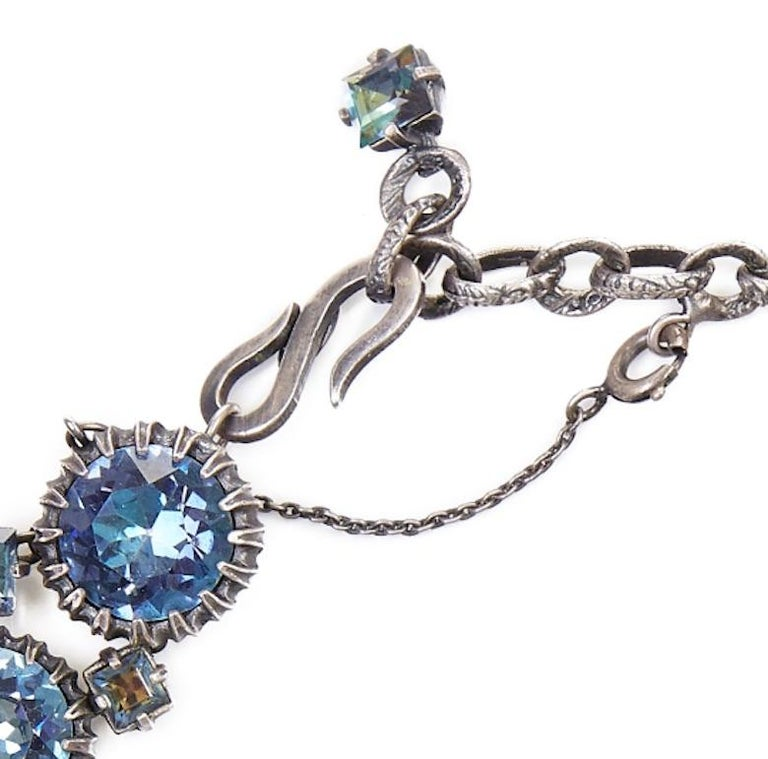 1950s Christian Dior Blue Crystal Necklace In Excellent Condition For Sale In London, GB