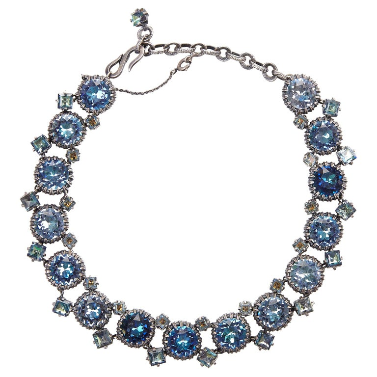1950s Christian Dior Blue Crystal Necklace For Sale