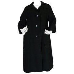 1950s Christian Dior Demi-Couture Black Voluminous Coat