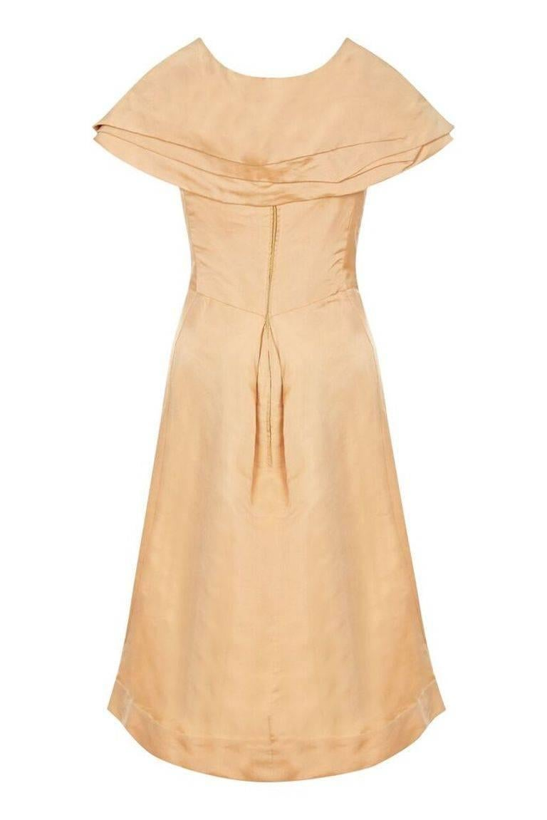 Women's 1950s Christian Dior Demi Couture Gold Silk Dress With Detachable Shawl For Sale